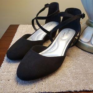 Dexflex Memory Foam Suede Black Shoes Ladies 8Wide